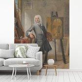 Fotobehang vinyl - Zelfportret  - Schilderij van Cornelis Troost breedte 400 cm x hoogte 500 cm - Foto print op behang (in 7 formaten beschikbaar)