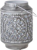 Cosy&Trendy Windlicht - Metaal - 18 cm x 18 cm x 24 cm - Grijs