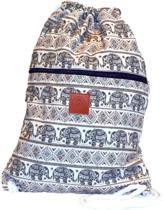 Rugtas Elephant Brown | T-Bags | 100% Katoen | 14 Liter | Wit & Bruin | Comfortabel