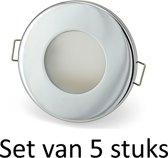 Dimbare Phillips 4W GU10 Badkamer inbouwspots Zilver rond | Extra warm wit (Set van 5 stuks)