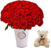 100 rode rozen in luxe witte vaas Love met knuffelbeer wit
