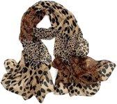 Luipaard print sjaal dames - korte sjaal - zwart bruin zand - dunne lichte half transparante stof - polyester chiffon - 45 x 150 cm