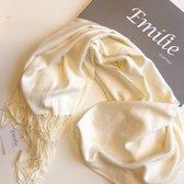 Emilie Scarves Pashmina sjaal Cashmere omslagdoek Off Wit - 200*63CM