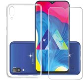 Samsung Galaxy A50 Hoesje Transparant TPU Siliconen Soft Case + Tempered Glass Screenprotector