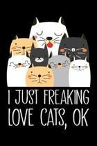I just Freaking Love cats ok: Cat lovers Prayer Journal, My daily prayer journal, Keeping a prayer journal with 100 pages, Awesome Prayer journal fo