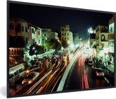 Foto in lijst - Super drukke straten in de avond in de Egyptische stad Caïro fotolijst zwart 60x40 cm - Poster in lijst (Wanddecoratie woonkamer / slaapkamer)