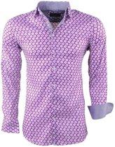 Montazinni - Heren Overhemd met Trendy Design - Stretch - Lila