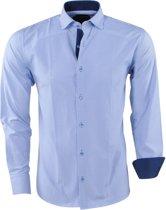 Pradz - Heren Overhemd - Gestreept - Slim Fit - Navy