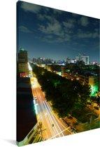 Luchtfoto van de Aziatische stad Taichung in de nacht Canvas 60x90 cm - Foto print op Canvas schilderij (Wanddecoratie woonkamer / slaapkamer)