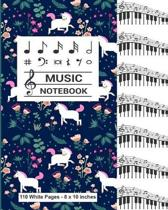 Music Notebook 110 White Pages 8x10 inches