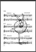Canvas Schilderij * Ballet Bladmuziek * - Kunst aan je Muur - Minimalisme - Zwart-Wit - staand - 50 x 70 cm