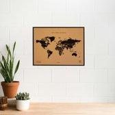 Miss Wood - WOODY MAP NATURAL kurken wereldkaart met zwarte frame - 60x45cm (L) - zwart
