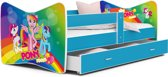 Kinderbed Pony 80x160 cm- wit/blauw - met lade - met matras