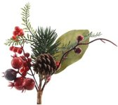 Kerststukje stekertje met bessen groen/rood 20 cm