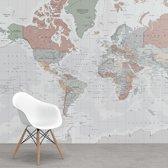 Wereldkaart Vintage op Behang Pastel 265x350 cm vinyl behang | Wereldkaart Behang