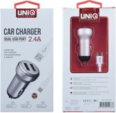 UNIQ Accessory Car Charger 2.4A micro + usb kabel auto lader is met 2 usb poorten