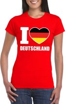 Rood I love Duitsland fan shirt dames XS