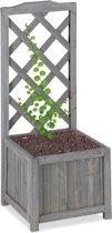 relaxdays plantenbak met klimrek - bloembak met trellis - grijs - weerbestendig - balkon M