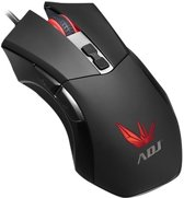 ADJ 510-00023 Mob Gaming Muis [USB, Optical, 800-1600-2400 DPI, Zwart Rood]