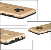 Let op type!! Voor Galaxy S9 backcover berijpte TPU + PC beschermende hoes met houder (Rose goud)