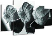 Schilderij | Canvas Schilderij Bloem | Grijs, Groen, Zwart | 160x90cm 4Luik | Foto print op Canvas