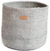 Kijivu S - Handgemaakte sisal opberg mand - ideaal als opbergmand of voor planten - grijs - 20 cm hoogte x 18 cm diameter