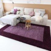 Hoogpolig vloerkleed shaggy Trend lijstmotief - paars 200x290 cm