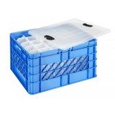 Sunware Square Glazenkrat 52L - inclusief deksel en vakverdeling - ruimte voor 30 bier/frisdrank glazen