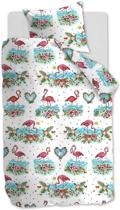 Beddinghouse Kids Flamingo Flower Dekbedovertrek - Eenpersoons - 140x200/220 - Koraalrood
