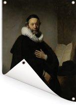 Portret van Johannes Wtenbogaert - Schilderij van Rembrandt van Rijn Tuinposter 120x160 cm - Tuindoek / Buitencanvas / Schilderijen voor buiten (tuin decoratie) XXL / Groot formaat!