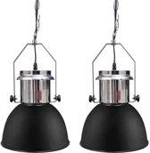 Moderne metalen hanglamp (zwart, set van twee)