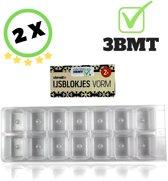 3 BMT ijsblokjesvorm vierkant voor 28 ijsblokjes - set van 2 vormen - 8x23cm