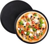 relaxdays pizzaplaat - set van 2 - antiaanbaklaag - pizzavorm - rond - carbonstaal - grijs