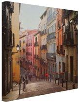 Straat in centrum Madrid Canvas 100x100 cm - Foto print op Canvas schilderij (Wanddecoratie woonkamer / slaapkamer) / Steden Canvas Schilderijen