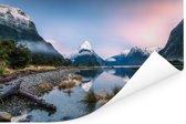 Zonsopgang in Nationaal park Fiordland in Oceanië Poster 120x80 cm - Foto print op Poster (wanddecoratie woonkamer / slaapkamer)