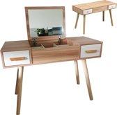 Kaptafel make up visagie bureau met inklapbare spiegel en 2 lades bruin