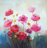 Schilderij bloemen roze 80x80 Artello - Handgeschilderd - Woonkamer schilderij - Slaapkamer schilderij - Canvas - Modern