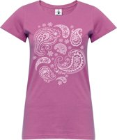 "Yoga-T-Shirt ""paisley"" - rose wine L Sporttop performance YOGISTAR"