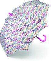 Esprit Long AC Paraplu - Light Letter Dance - Wit