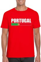 Rood Portugal supporter t-shirt voor heren - Portugese vlag shirts 2XL