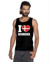 Zwart I love Denemarken supporter singlet shirt/ tanktop heren - Deens shirt heren XL