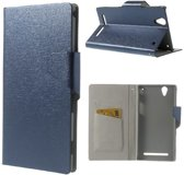 Shop4 - Sony Xperia T2 Ultra - Wallet Case Hoesje Scratch Blauw