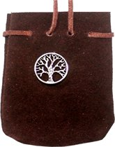 SUEDE POUCH ROUNDED WITH STRAP  BROWN-  TREE OF LIFE 3.25 x