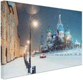 Winter in Moskou foto afdruk Canvas 60x40 cm - Foto print op Canvas schilderij (Wanddecoratie woonkamer / slaapkamer) / Steden Canvas Schilderijen
