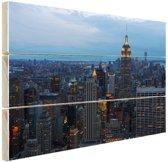 Lower Manhattan  Hout 80x60 cm - Foto print op Hout (Wanddecoratie)