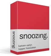 Snoozing - Katoen-satijn - Topper - Hoeslaken - Lits-jumeaux - 180x220 cm - Rood
