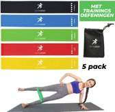 5 Weerstandsbanden Set - Met GRATIS oefeningen! Fitness Weerstand Elastieken - Resistance Trainings Banden - Fitnessbanden - Mini Power Body Band – Gymnastiekbanden - Pilates Yoga - Sport - Crossfit- Fitnessmaterialen -Multipack!