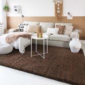 Hoogpolig vloerkleed shaggy Trend effen - bruin 60x110 cm