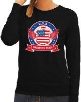 Zwart USA drinking team sweater dames L