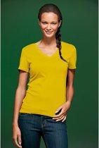 Geel dames stretch t-shirt met V-hals S